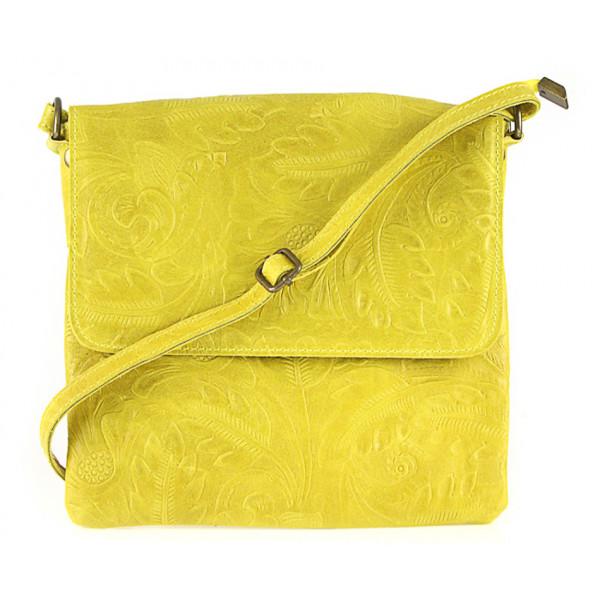 Žltá kožená kabelka na rameno 656