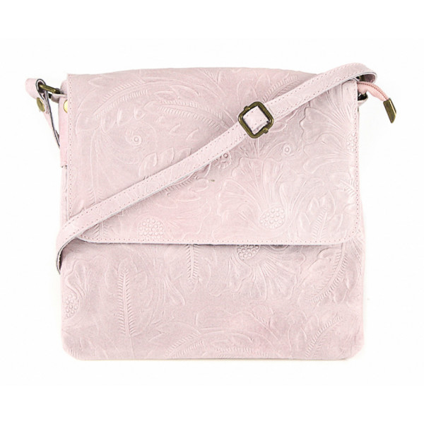 Ružová kožená kabelka na rameno 656