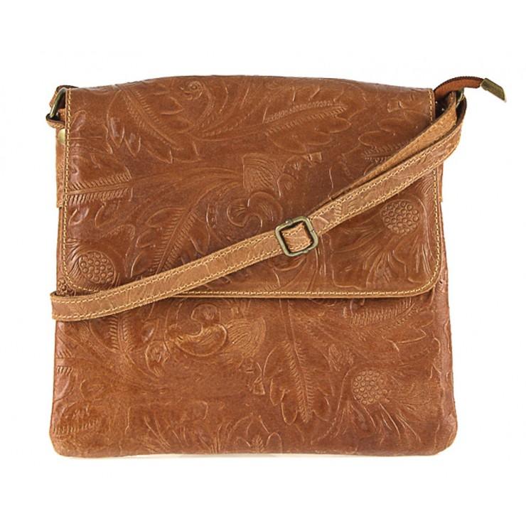 Genuine Leather Shoulder Bag 656 cognac