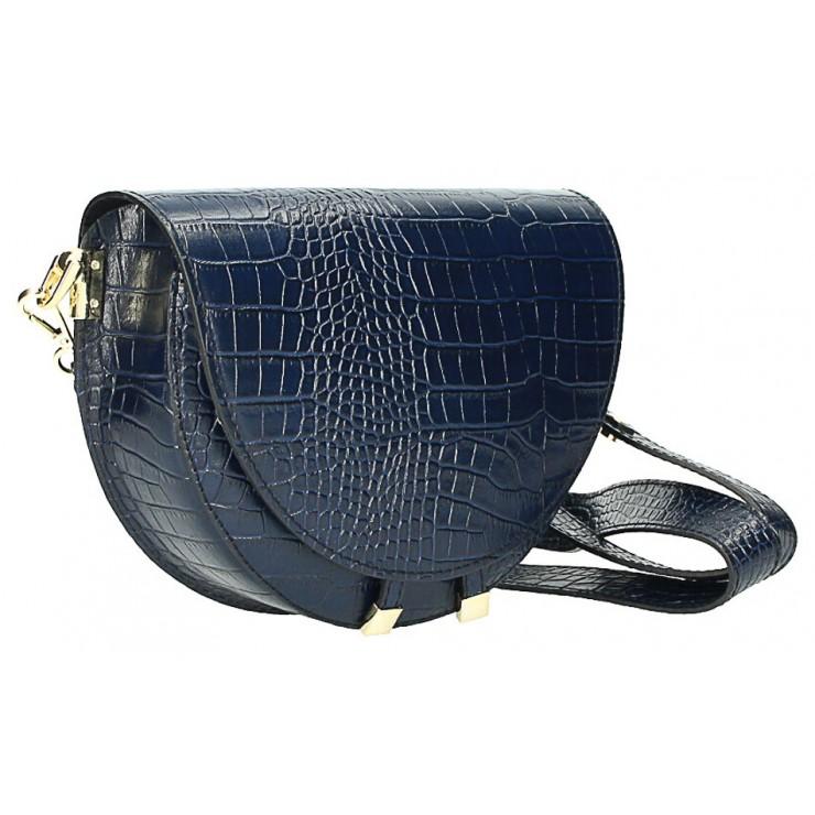 Kožená kabelka na rameno 1400 modrá Made in Italy