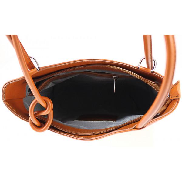 Kožená kabelka na rameno/batoh 113 čierna Made in Italy Čierna