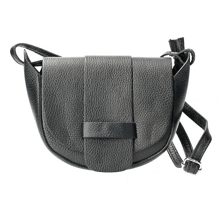 Kožená kabelka na rameno 1407 čierna Made in Italy