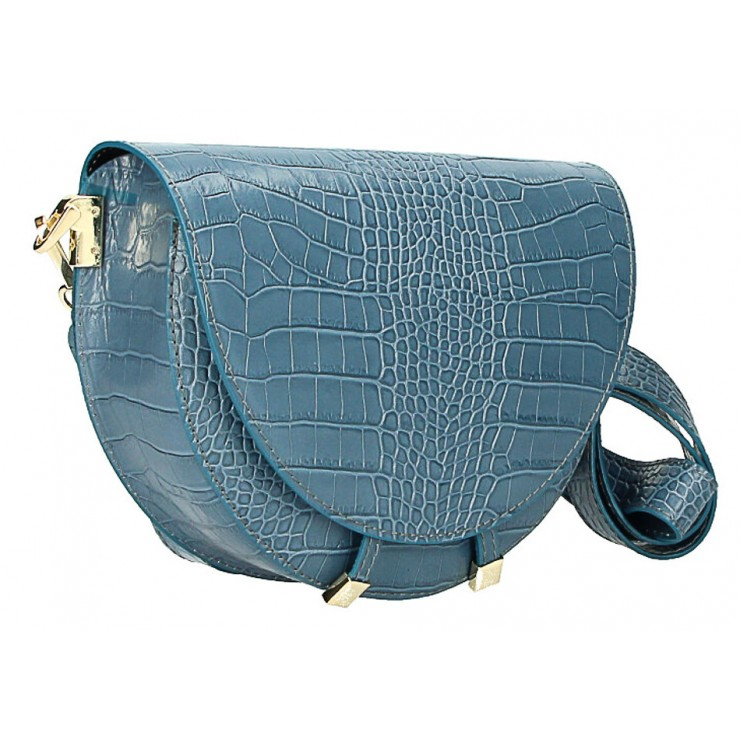 Kožená kabelka na rameno 1400 nebesky modrá Made in Italy