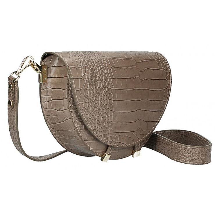 Kožená kabelka na rameno 1400 tmavá šedohnedá Made in Italy