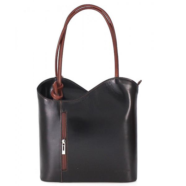Kožená kabelka na rameno/batoh 113 čierna + hnedá