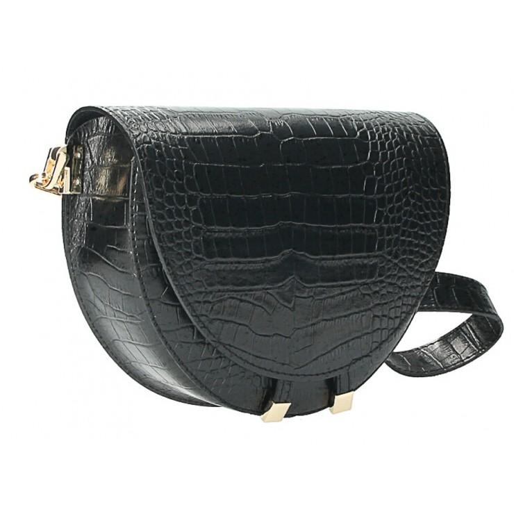 Kožená kabelka na rameno 1400 čierna Made in Italy