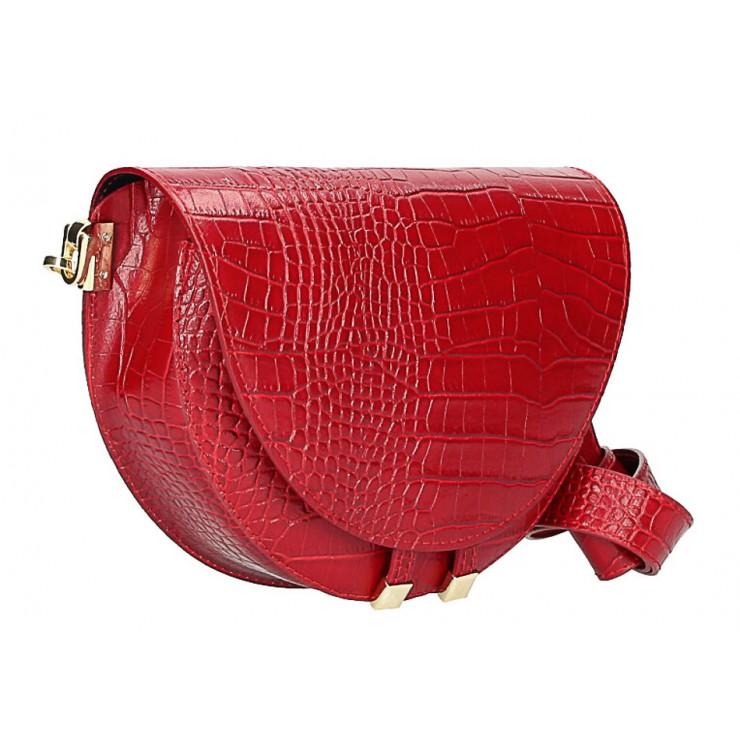 Kožená kabelka na rameno 1400 červená Made in Italy