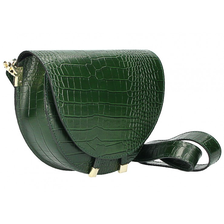 Genuine Leather shoulder bag 1400 dark green Made in Italy