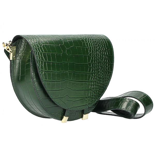 Kožená kabelka na rameno 1400 tmavozelená Made in Italy
