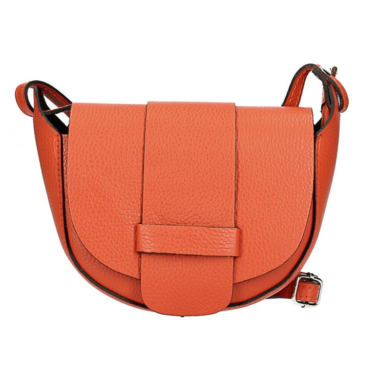 Genuine Leather shoulder bag 1407 orange Made in Italy