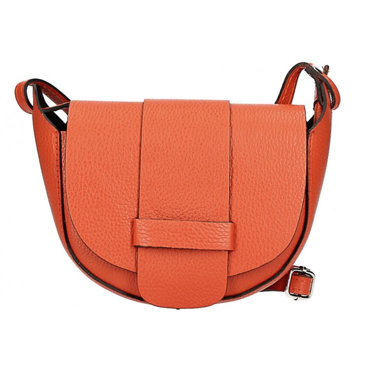 Kožená kabelka na rameno 1407 oranžová Made in Italy