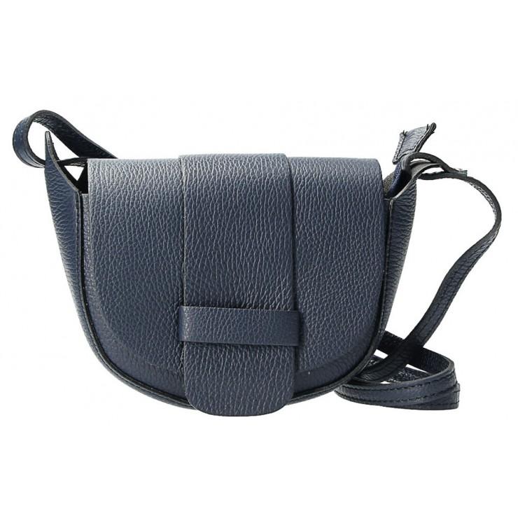 Kožená kabelka na rameno 1407 modrá Made in Italy