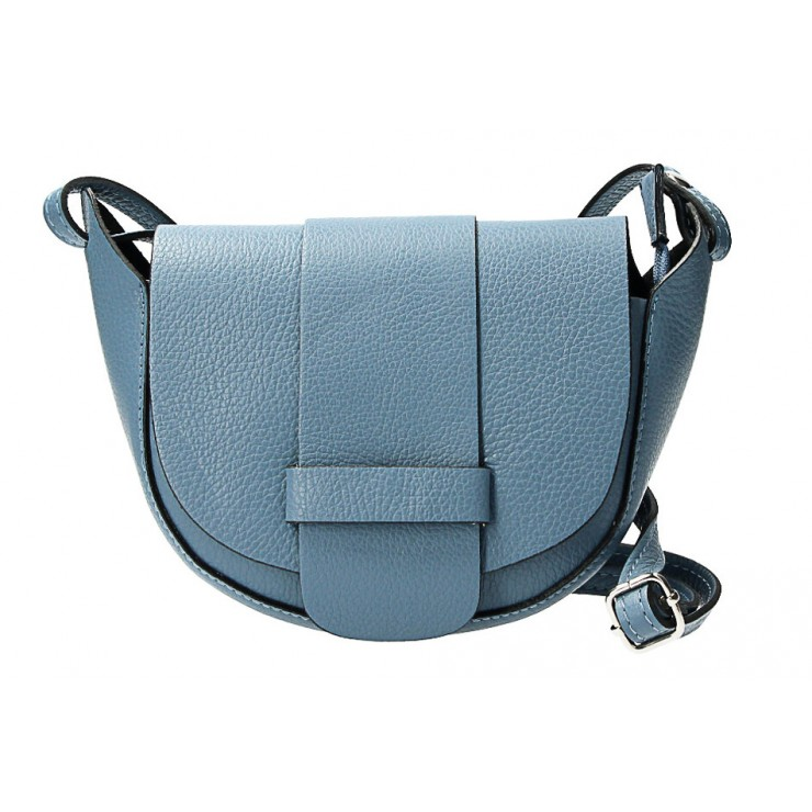 Genuine Leather shoulder bag 1407 light blue Made in Italy