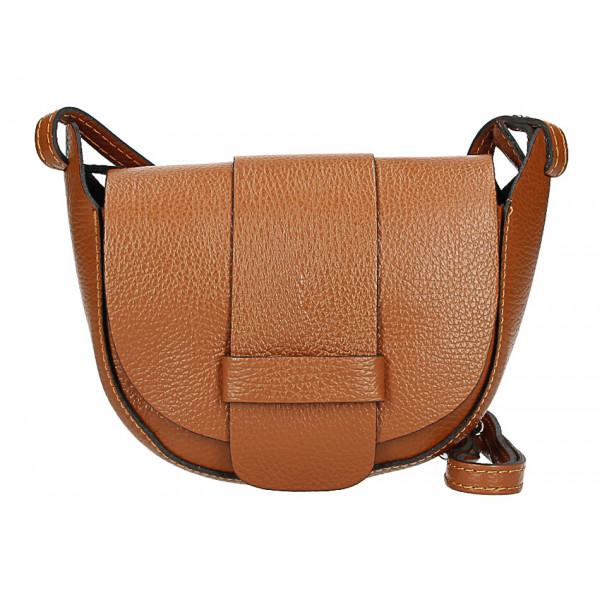 Kožená kabelka na rameno 1407 koňaková Made in Italy