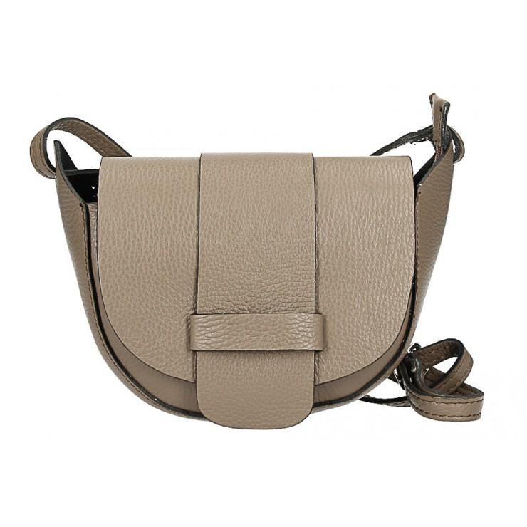 Kožená kabelka na rameno 1407 tmavá šedohnedá Made in Italy