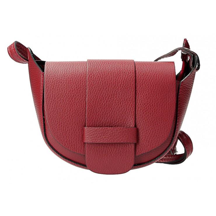 Kožená kabelka na rameno 1407 rudá Made in Italy