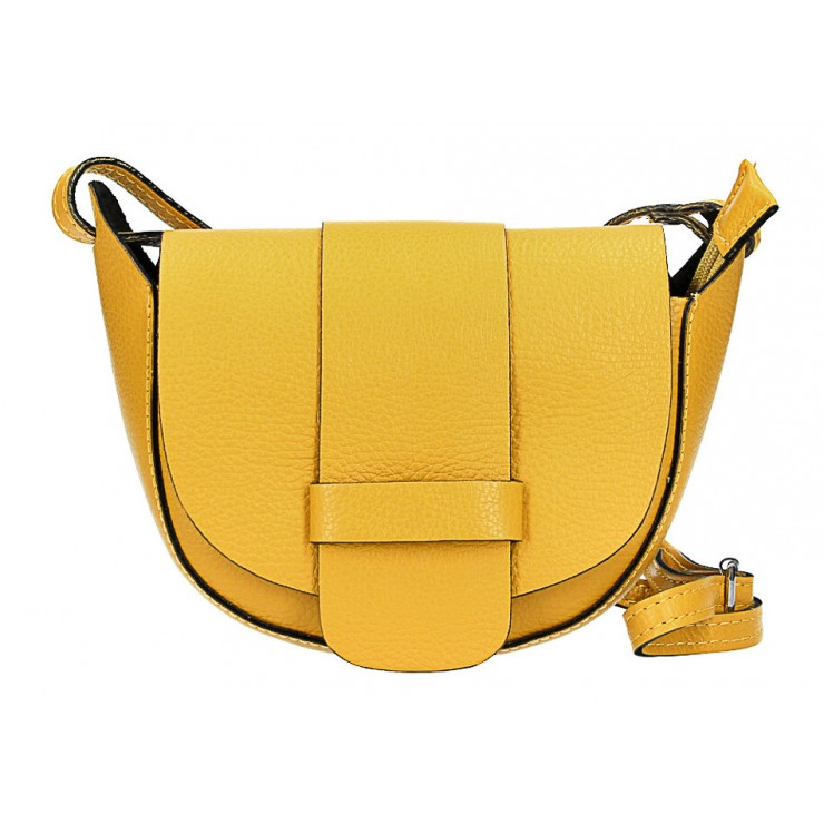 Genuine Leather shoulder bag 1407 mustard Made in Italy