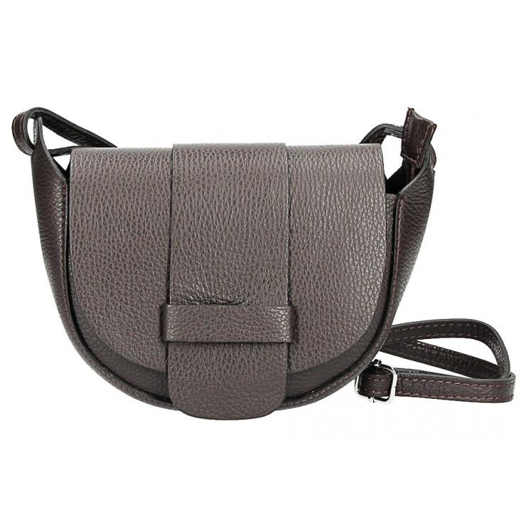 Kožená kabelka na rameno 1407 tmavohnedá Made in Italy