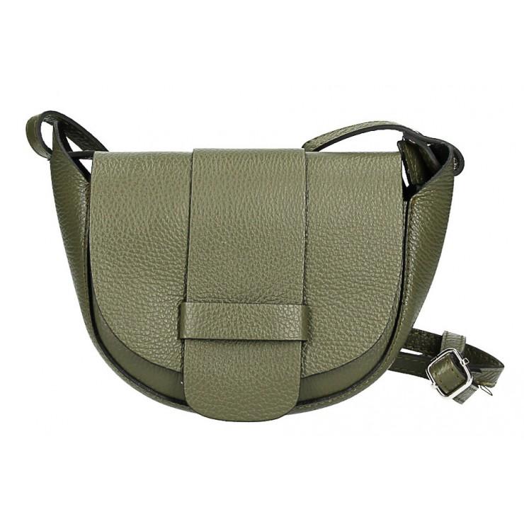 Kožená kabelka na rameno 1407 vojenská zelená Made in Italy