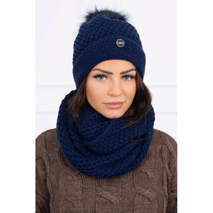 Women's Winter Set hat and scarf  MIK125 blue
