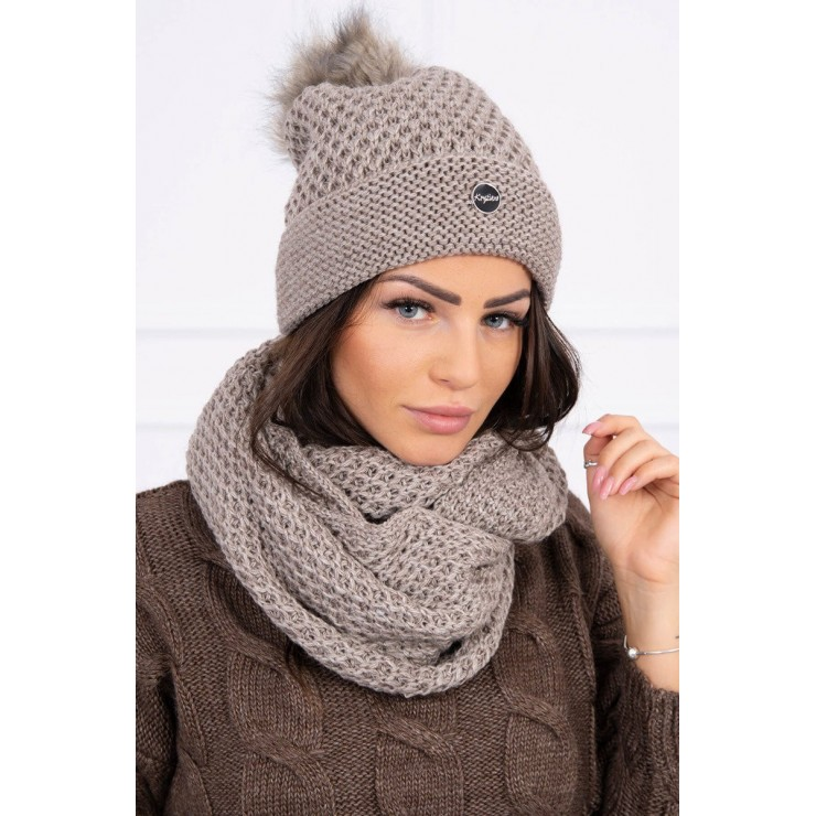 Women's Winter Set hat and scarf  MIK125 beige