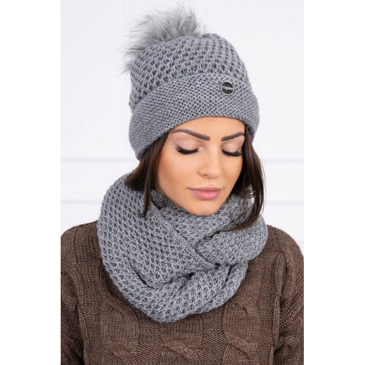 Women's Winter Set hat and scarf  MIK125 dark gray