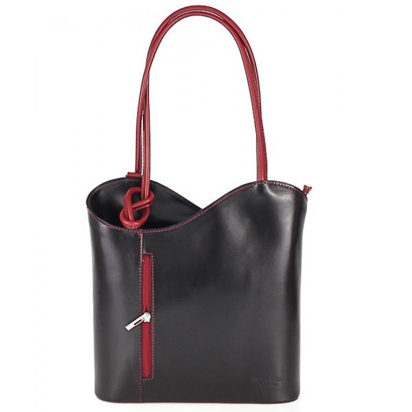 Kožená kabelka na rameno/batoh 113 čierna + červená