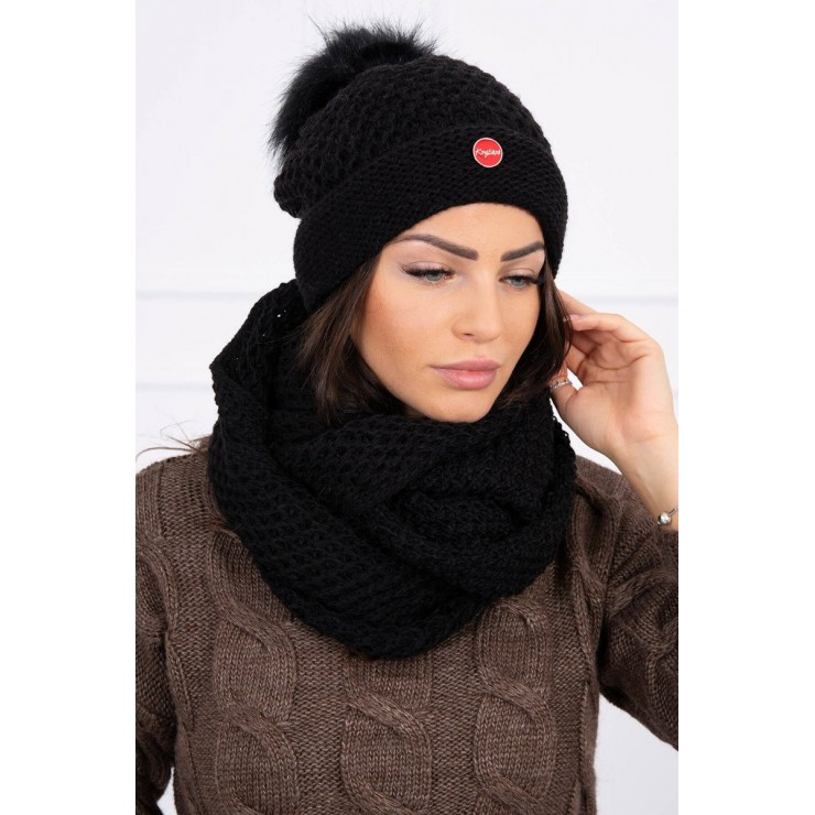 Women's Winter Set hat and scarf  MIK125 black
