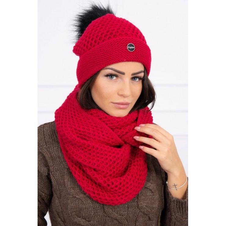 Dámsky set čiapka a nákrčník MIK125 červený