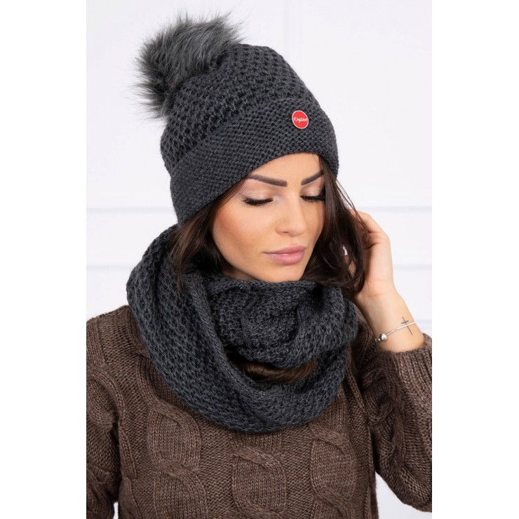 Women's Winter Set hat and scarf  MIK125 graphite