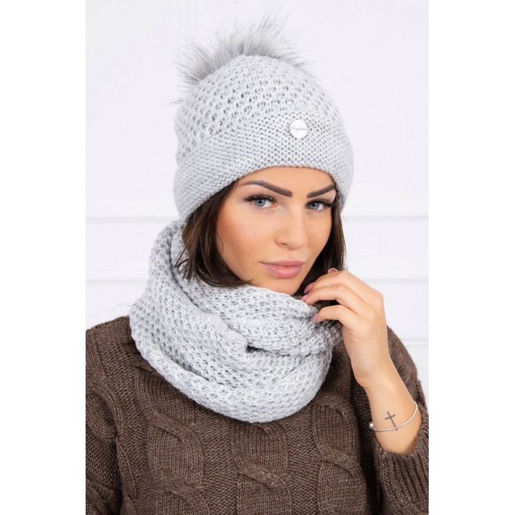 Women's Winter Set hat and scarf  MIK125 gray