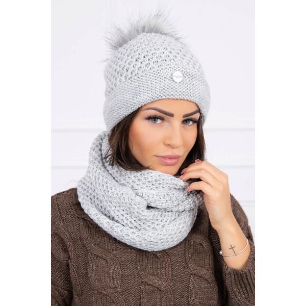 legjobb olcsón vásárol legújabb Női téli kalap és sál MIK125 szürke - MONDO ITALIA s.r.o.