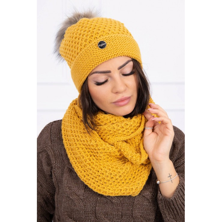 Women's Winter Set hat and scarf  MIK125 mustard