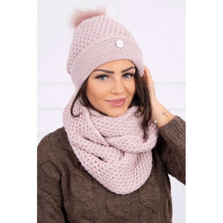 Women's Winter Set hat and scarf  MIK125 powder pink