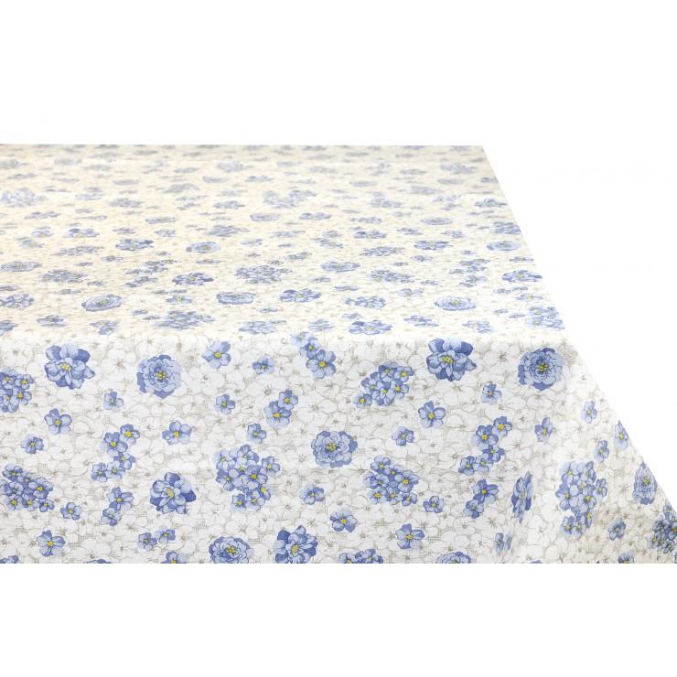 Cotton tablecloth blue flowers