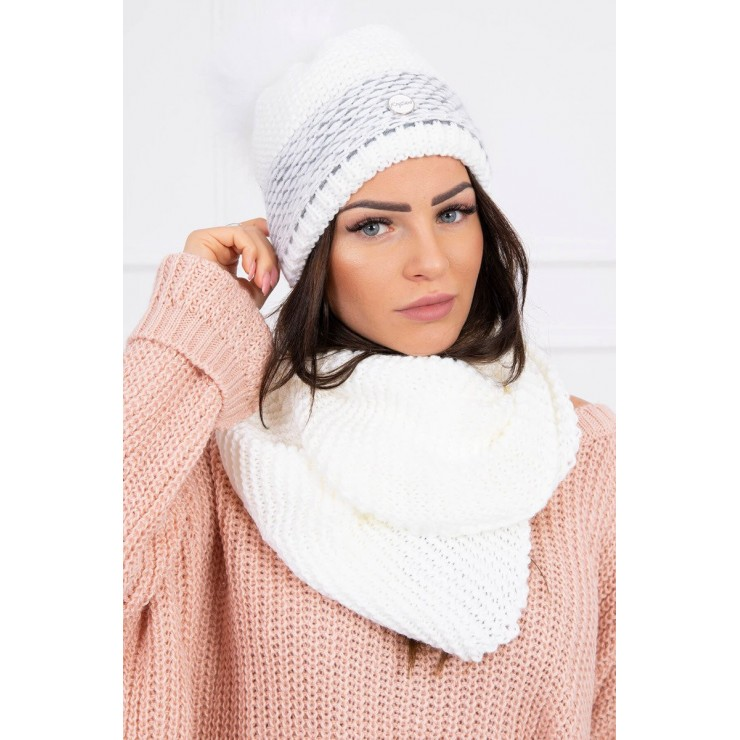 Women's Winter Set hat and scarf  MIK126 white