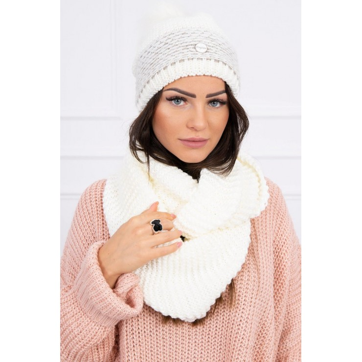 Women's Winter Set hat and scarf  MIK126 cream