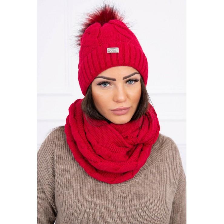 Dámsky set čiapka a nákrčník MIK124 červený