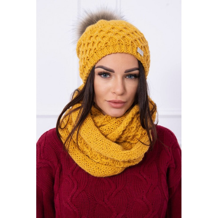 Women's Winter Set hat and scarf  MIK119 mustard