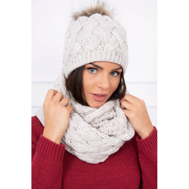 Women's Winter Set hat and scarf  MIK112 beige