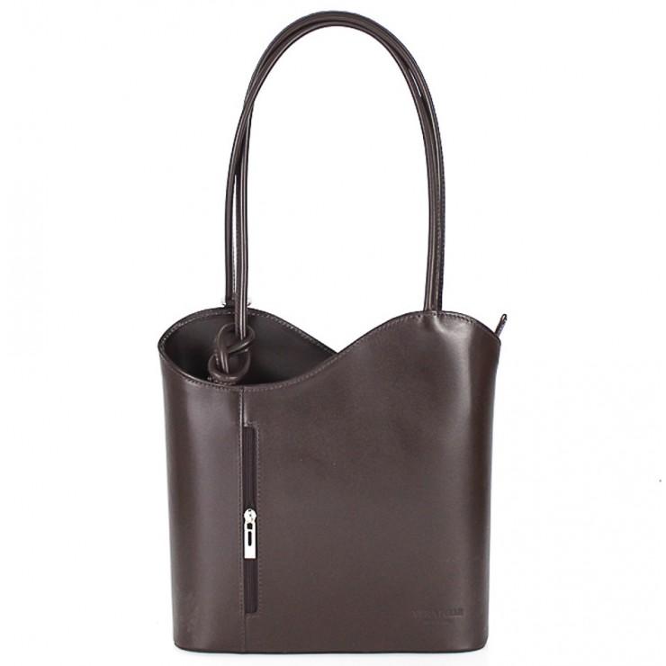 Kožená kabelka na rameno/batoh 113 tmavohnedá Made in Italy