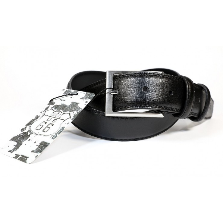 Men leather belt black Route 66
