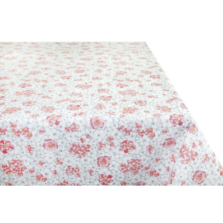 Cotton tablecloth pink flowers Made in Italy