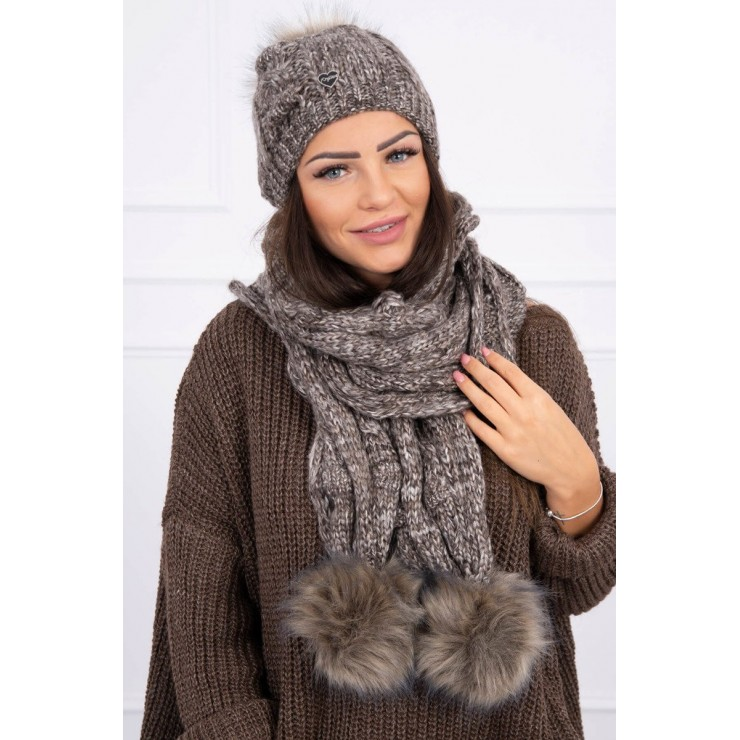 Women's Winter Set hat and scarf  K128 brown