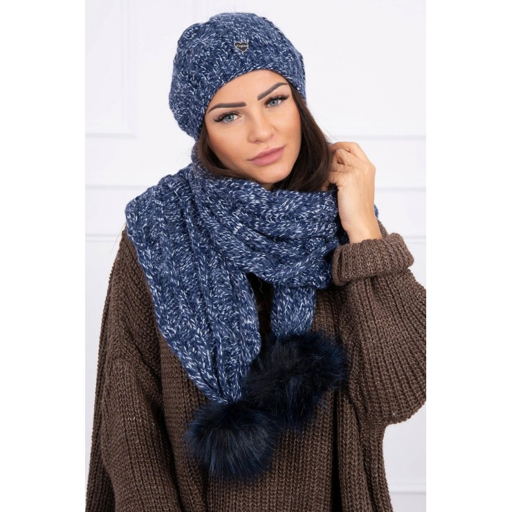 Women's Winter Set hat and scarf  K128 blue