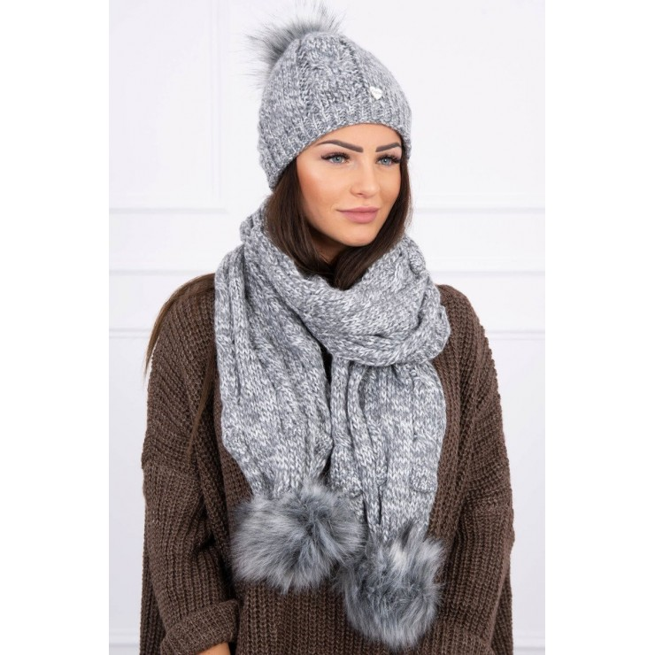 Women's Winter Set hat and scarf  K128 dark gray