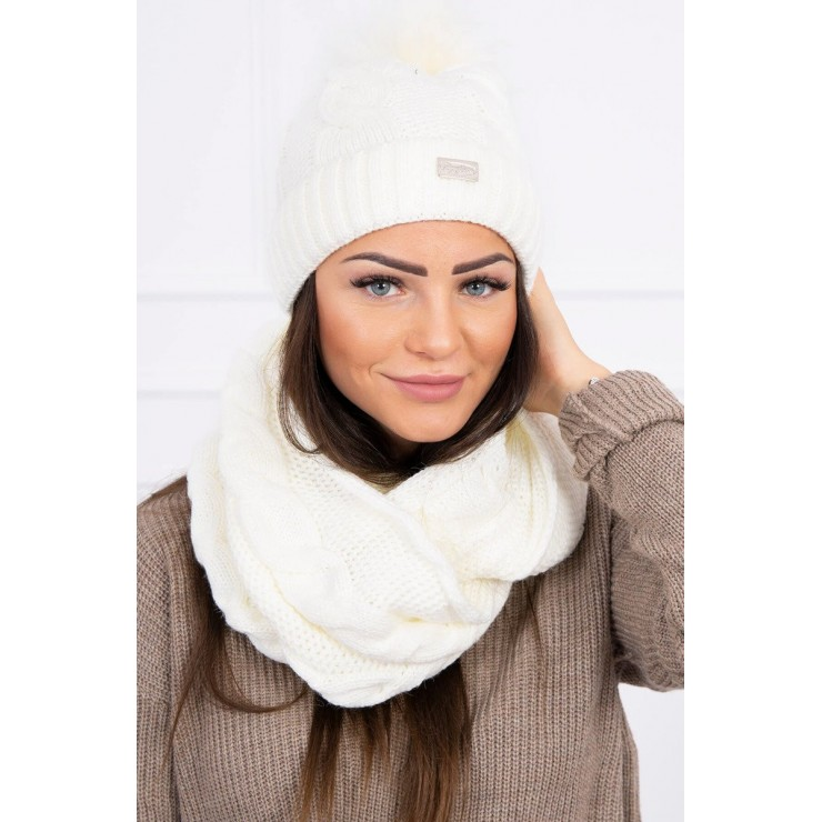 Women's Winter Set hat and scarf  MIK124 cream
