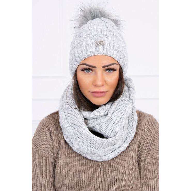 Women's Winter Set hat and scarf  MIK124 gray