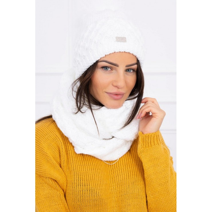 Women's Winter Set hat and scarf  MIK119 white