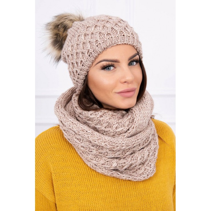 Women's Winter Set hat and scarf  MIK119 beige